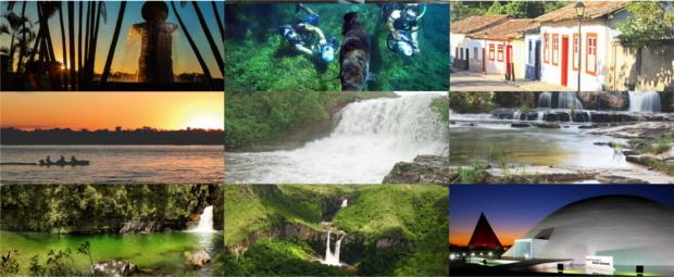 Mosaico de pontos turisticos de Goiás